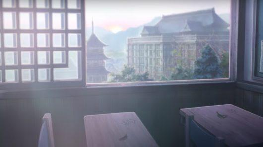 乙骨と里香ちゃんの相合傘が彫られた机
